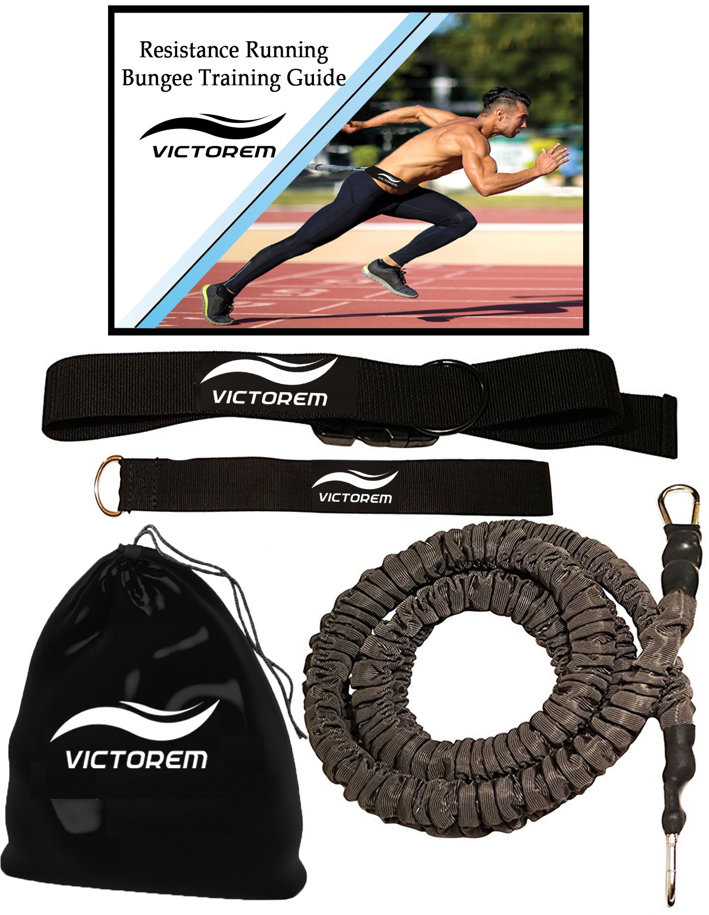 VICTOREM Strength 80 Lb Resistance Running Training Bungee Band (Waist) Workout Guide– 8 Ft - 360° Agility, Speed, Fitness for Fast-Twitch Athletes – Gym Equipment for Football, Basketball, Crossfit