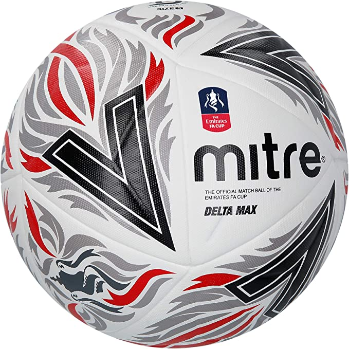 Mitre Delta MAX FA Cup Pro Balón de fútbol, Unisex Adulto, WH/BK ...