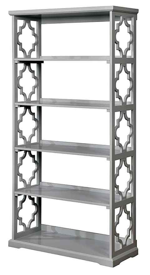 Charmant Furniture Of America Misenia Quatrefoil Panel Display Case Contemporary  Style   Gray