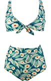 COCOSHIP Women's Retro Floral High Waisted Bikini Set Tie Front Top Concise Sporty Swimsuit(FBA)