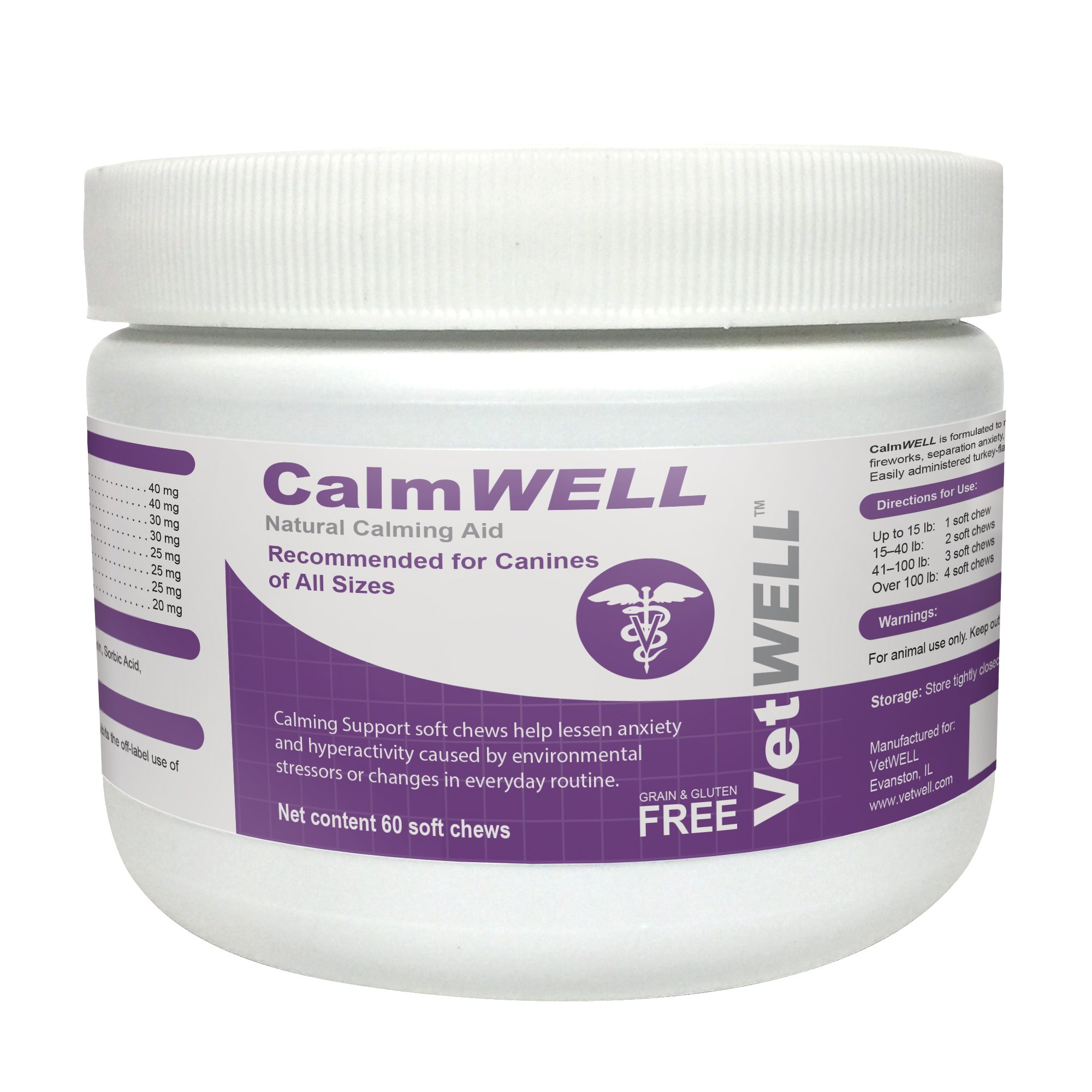 VetWELL Dog Calming Treats - Anxiety Relief Supplement for Dogs - 60 CalmWELL Grain Free Calming Chews
