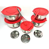 5 Premium Grade Stainless Steel Mixing Bowl with Lids, 10 Piece Set Measurements and Non Skid Bottoms Includes 3 Graters…