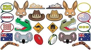 "Beistle 54953, 24 Piece Australian Photo Fun Signs, 6.5"" to 11"", Multicolored"