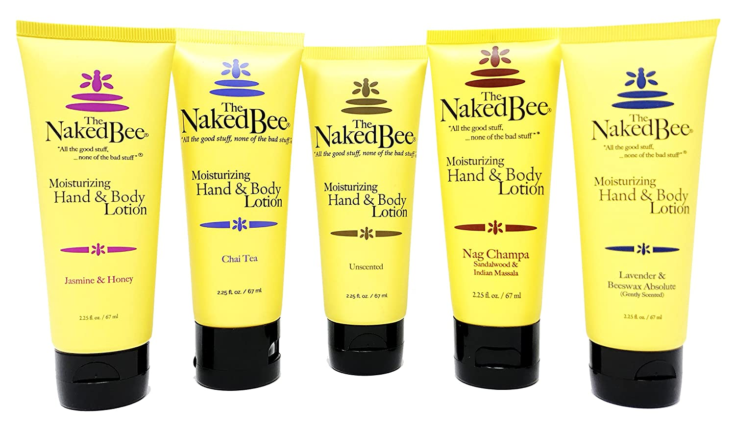 The Naked Bee Travel Size Floral Lotion Variety Pack of 5 – Unscented, Jasmine & Honey, Lavender & Beeswax Absolute, Chai Tea, and Nag Champa Sandalwood and Indian Massala (2.25 Fluid Ounce Bottles)