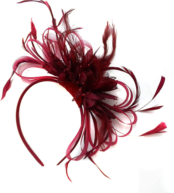 Tocado de borgoña en diadema, color rojo vino oscuro, para bodas, carreras de caballos, señoras