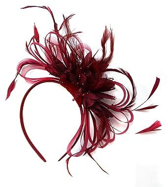 50a61013a3fea Burgundy Fascinator on Headband Dark Wine Red Hair Wedding Ascot Races  Ladies  Amazon.co.uk  Clothing