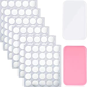 900 Pieces Disposable Eyelash Glue Holder Pallet Eyelash Extension Glue Sticker Pads and 2 pieces Reusable Eyelash Pad Stand for Makeup Tool Supply