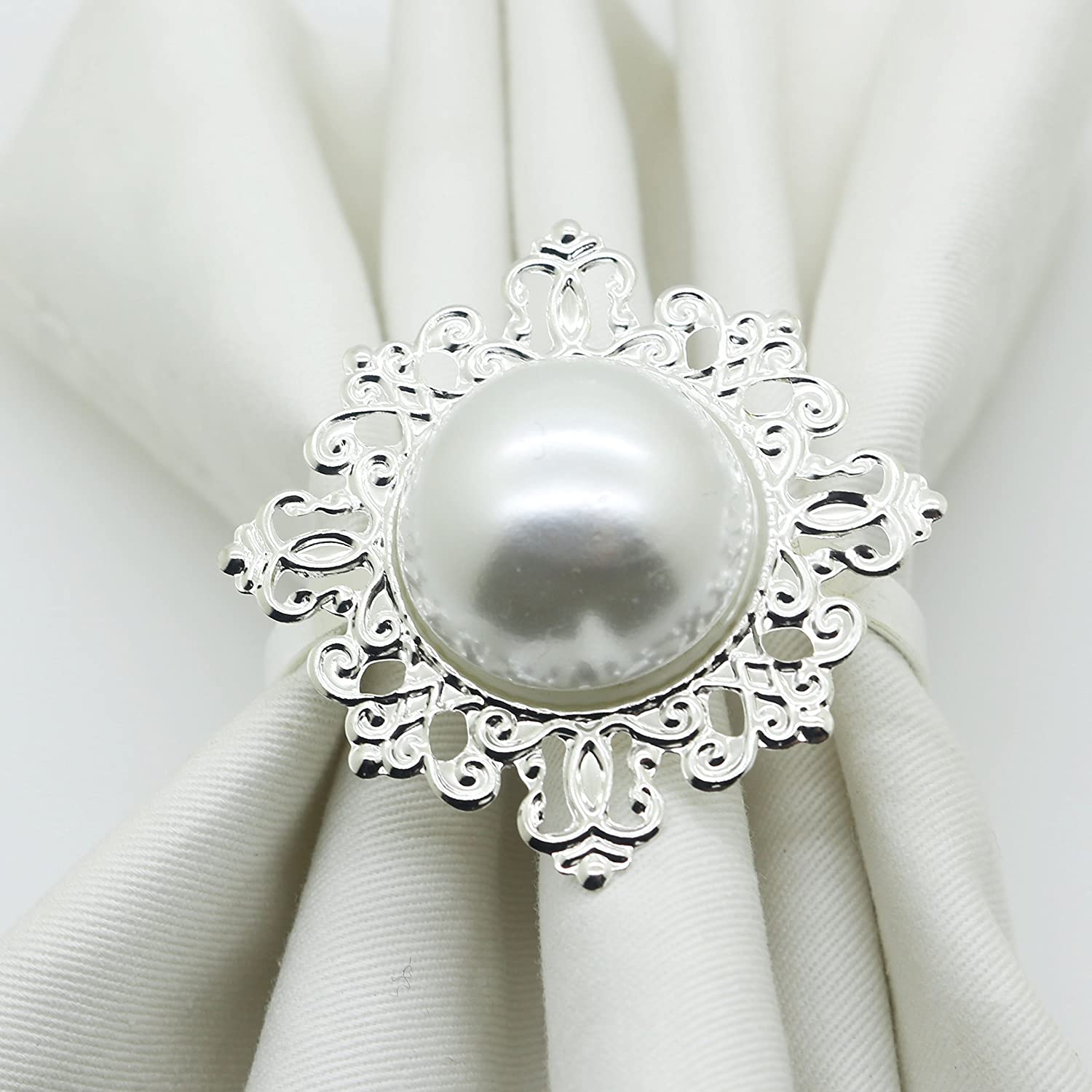 12pcs Pearl Napkin Ring Serviette Weddings and Hotel supplies For Christmas Table Yomoo