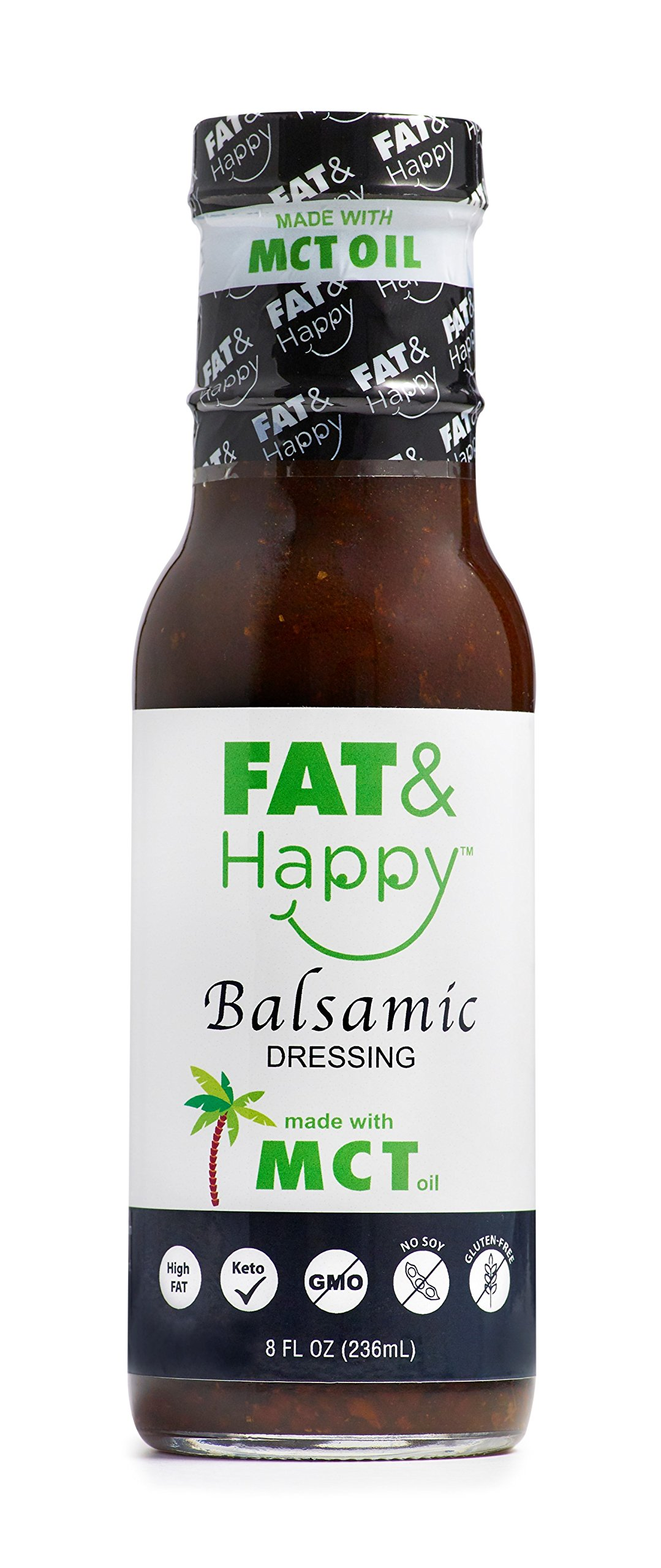 FAT & Happy Balsamic Dressing 8oz, made with MCT Oil, Keto