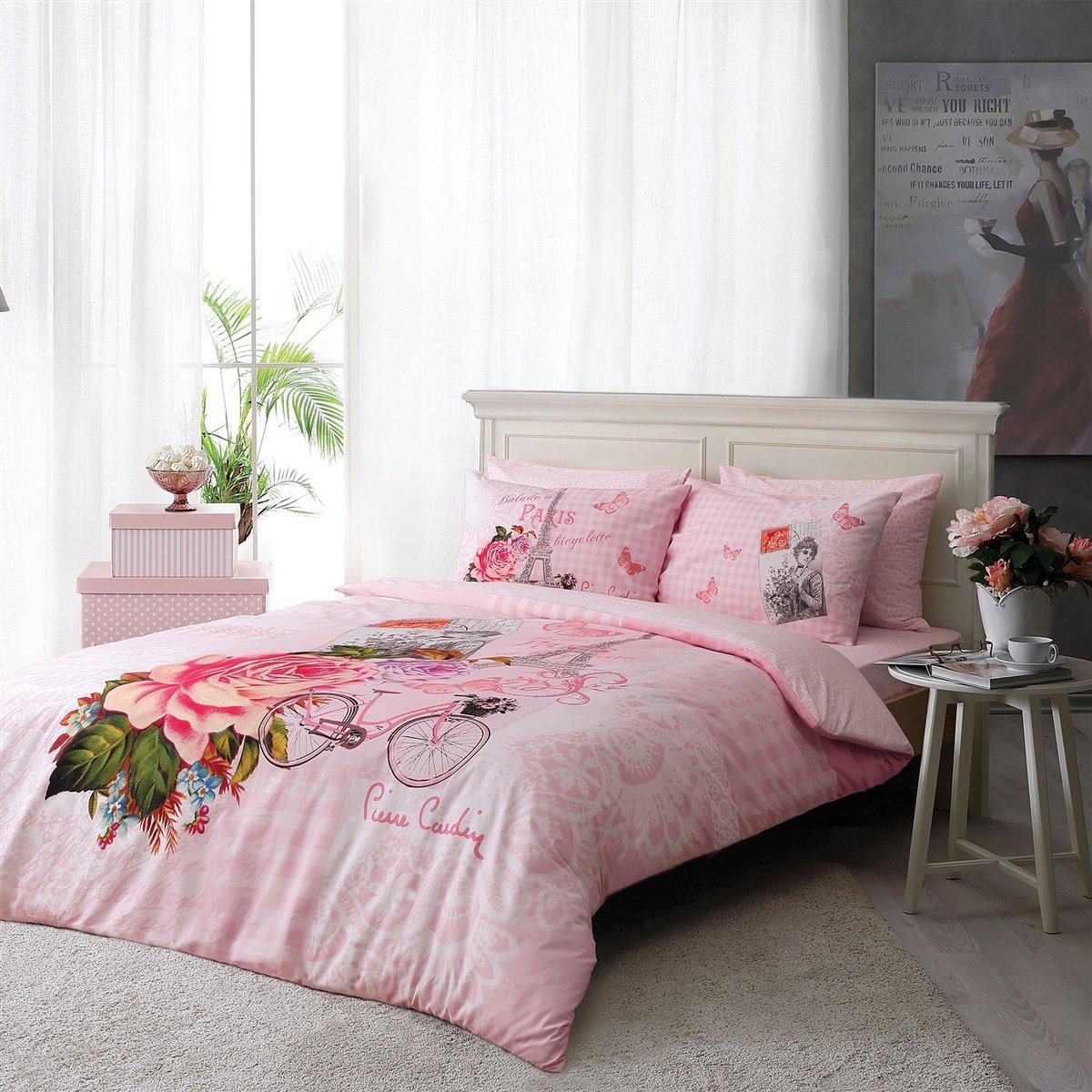 Pierre Cardin 100% Cotton 5pcs Full Size Comforter Set Vintage Paris Pink Floral Elegant Vintage Set
