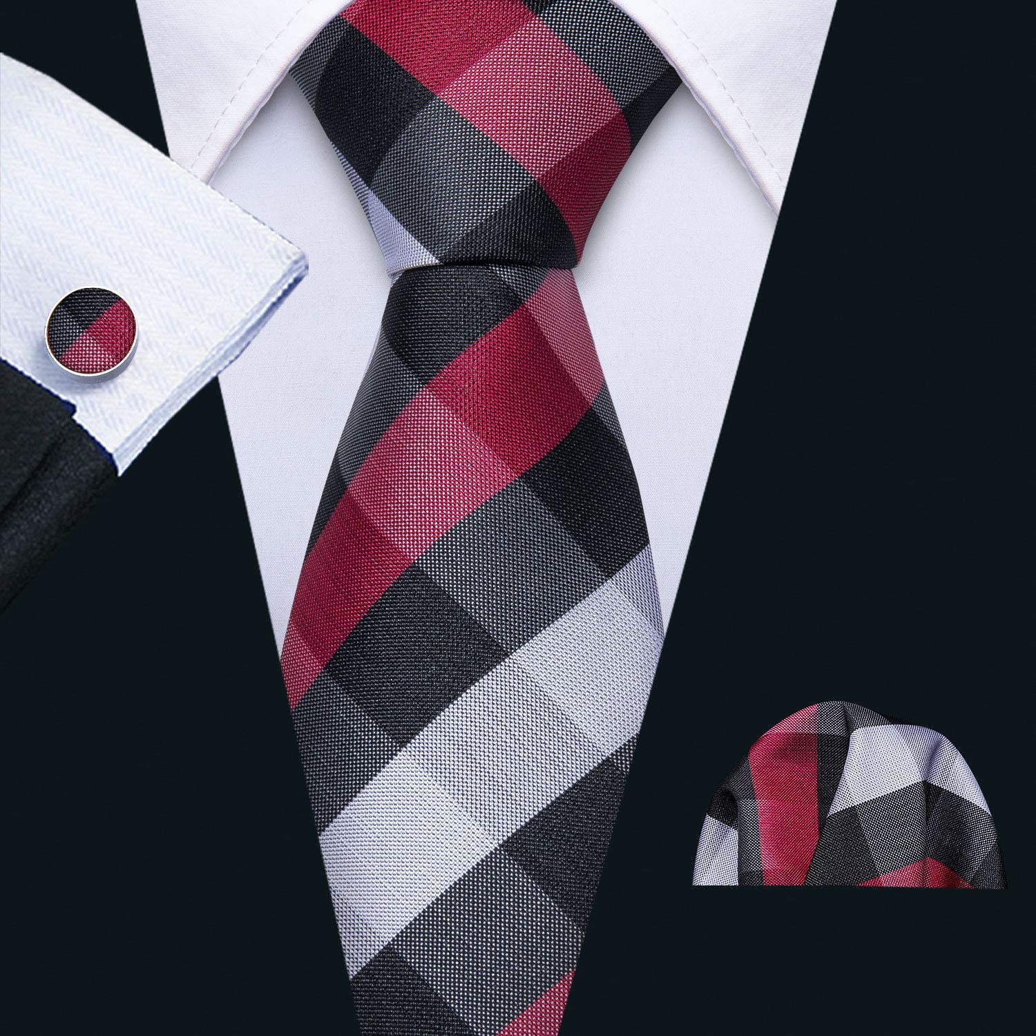 Barry.Wang Designer Ties for Men Set Formal Pocket Square Cufflink Check Plaid