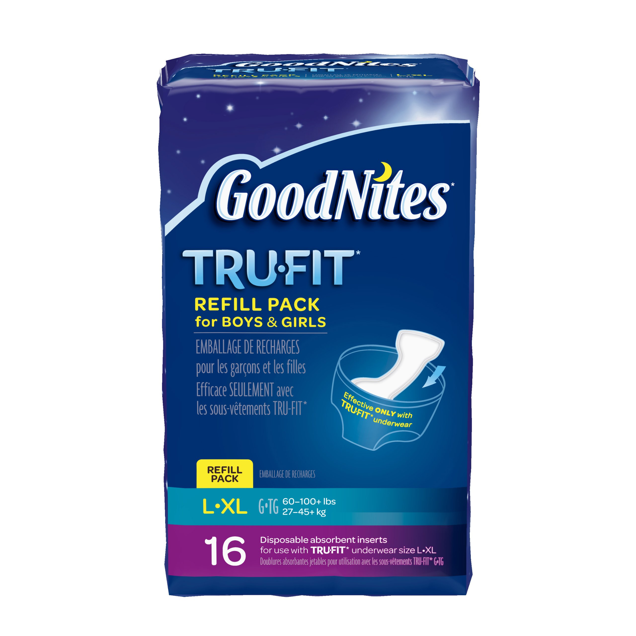 GoodNites TRU-FIT Disposable Absorbent Inserts for Boys & Girls, Refill Pack, Size Large/Extra Large, 16 ct (Pack of 3)