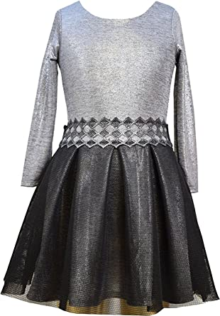 7a3aa5df0 Amazon.com  Little Girls 2T-6X Long Sleeve Foil Knit to Texture Mesh ...
