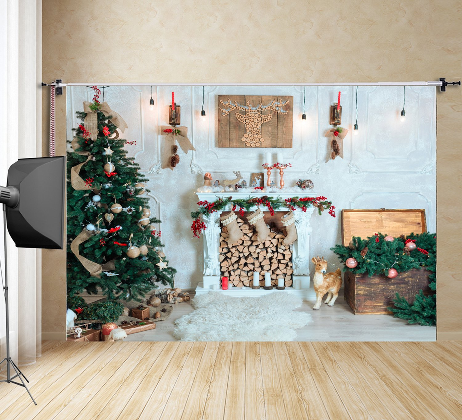 3d Christmas Tree And Fireplace Studio Photography Backdrop Home Family Pictures Diy Background Ft6875