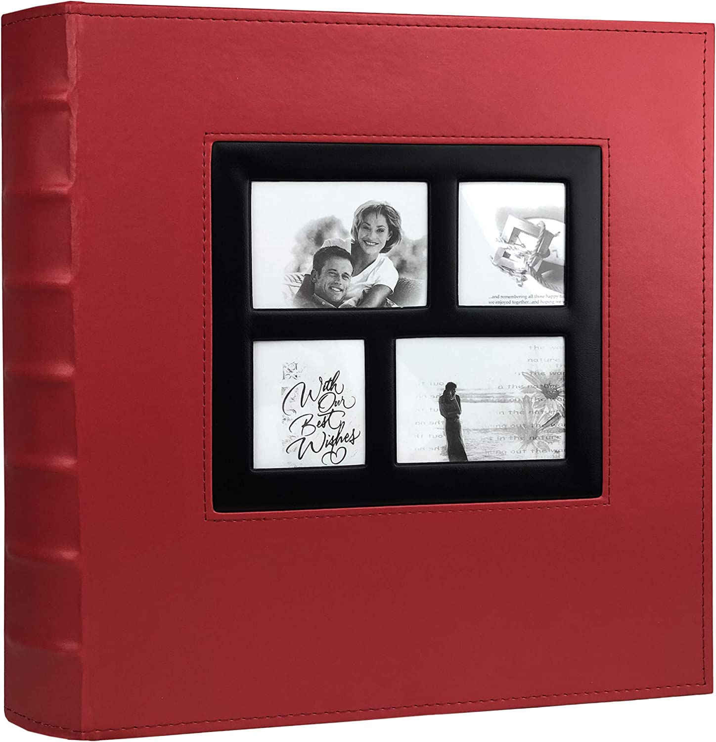 RECUTMS Photo Album 4x6 Holds 500 Photos Black Pages Large Capacity Leather Cover Wedding Family Baby Photo Albums Book Horizontal and Vertical Photos (Red)