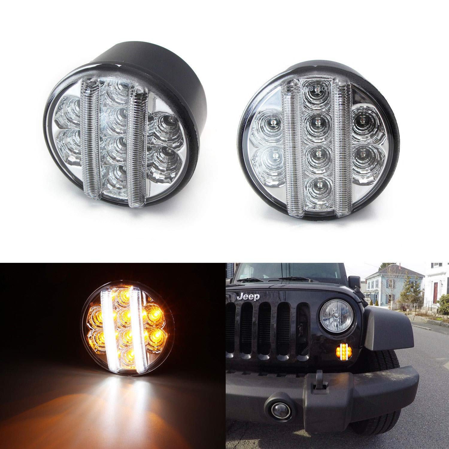 iJDMTOY (2) Clear Lens LED DRL Turn Signal Assembly For 07-17 Jeep Wrangler (White LED Vertical Bars as Daytime Running Lights & Amber LED Dots as Turn Signal Lights) iJDMTOY Auto Accessories Front Bumper Blinker Signal Light Assy
