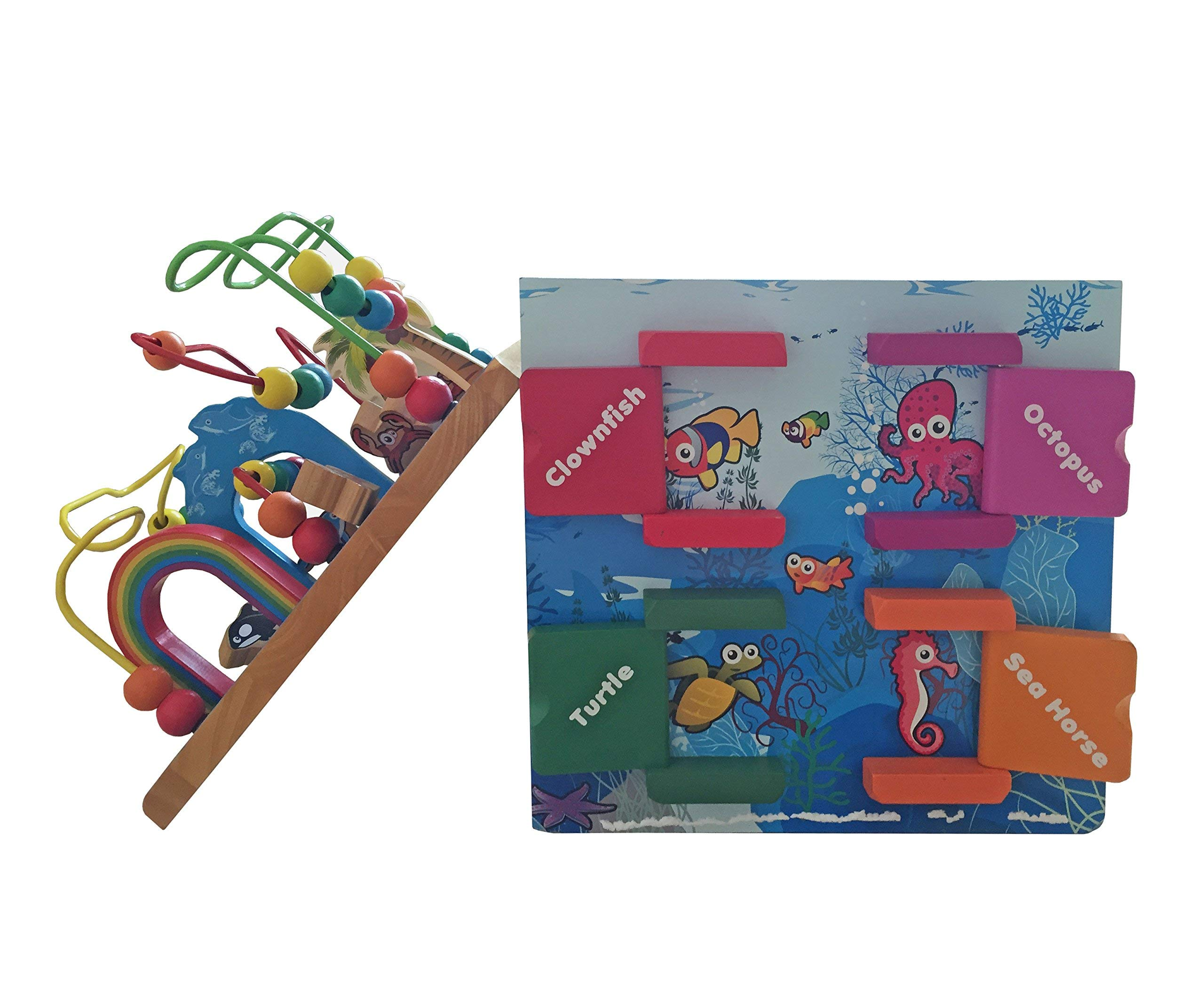 Under The Sea Adventures, Deluxe Activity Wooden Maze Cube - Perfect for Kids Play, Musical Activity, and Toddlers Early Developmental Skills by Pidoko Kids (Image #8)