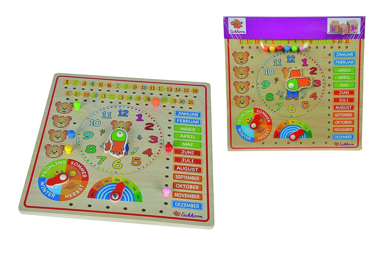 Eichhorn 100005457 - Steckpuzzle Kalenderuhr 30x30cm, unterschiedliche Steckmöglichkeiten, Wand Aufhängemöglichkeit, FSC 100% Zertifiziertes Lindensperrholz Simba Toys Alltagszenen und Menschen Teddys