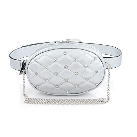 7779b26e09e3 Amazon.com: Silver Stylish Leather Waist Belt Bag Fanny Packs Purse  Shoulder Bag For Women Fashion: SHOE GONE