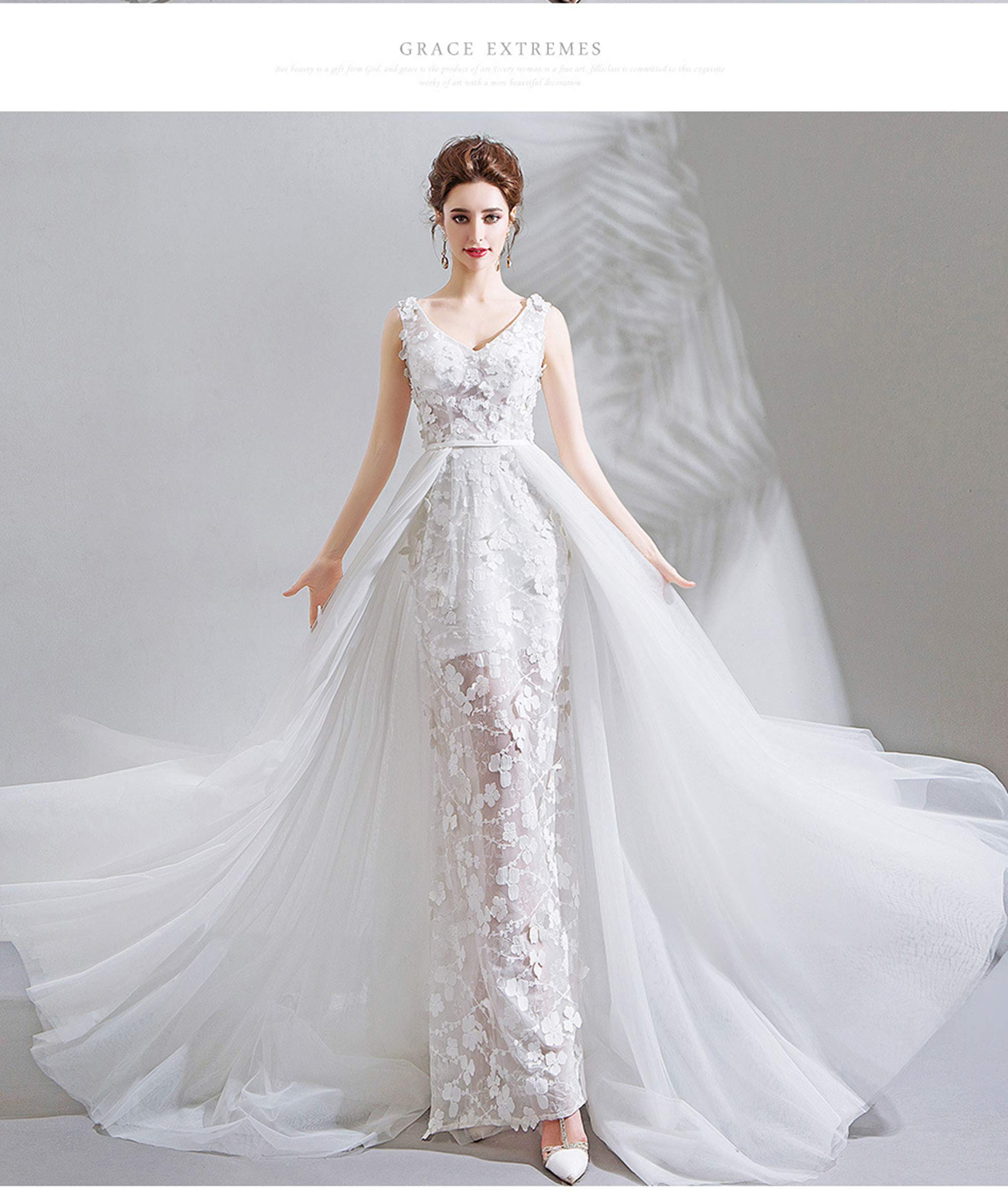 NOMSOCR Women's Lace V Neck Sleeveless Wedding Dresses Mermaid Bridal Gown (M, White) by NOMSOCR (Image #7)