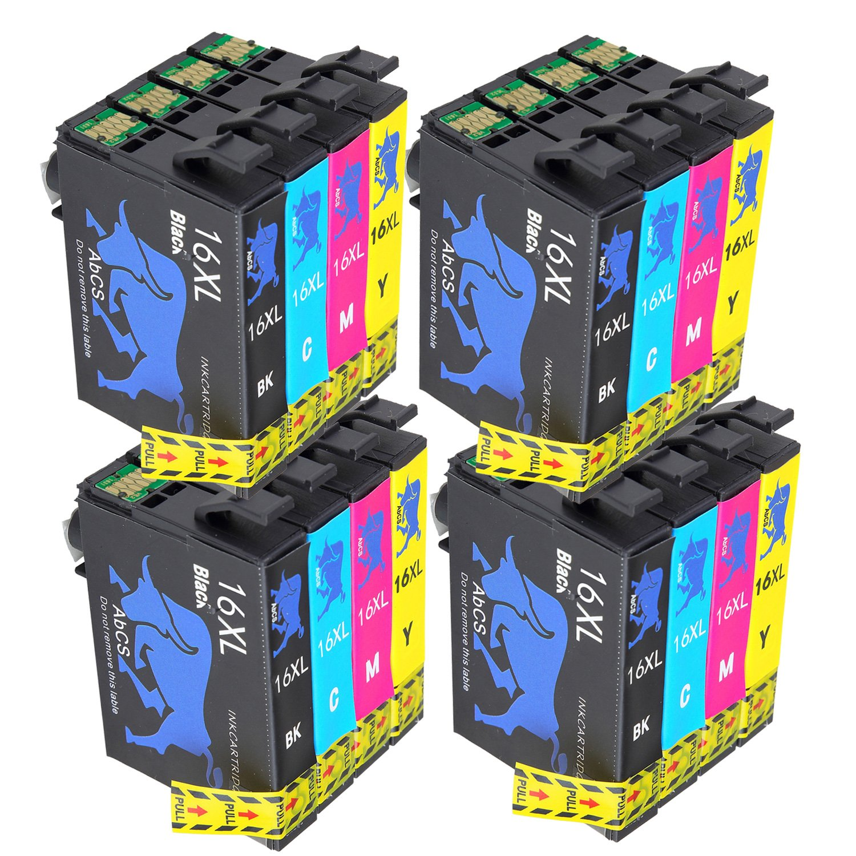 Abcs Printing Compatible Epson 16XL 16 Cartuchos de tinta, con Impresora Epson Workforce WF-2630 WF-2750 WF-2530 WF-2510 WF-2520 WF-2650 WF-2010 ...