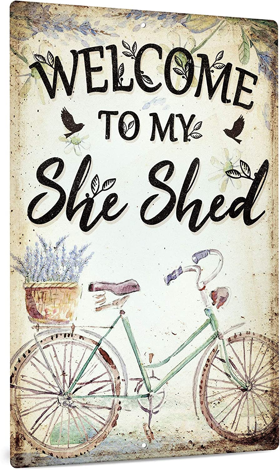 Putuo Decor She Shed Decor, Farmhouse Wall Sign for Home, Kitchen, Garden, Women Cave, Gift for Girlfriend, Ladies, 12x8 Inches Aluminum Metal Sign - Welcome to My She Shed