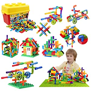 burgkidz 176 Piece Pipe Tube Building Toy Building Blocks, Pipeworks Construction Interlocking Creative Connecting Kit, Great STEM Toy for Both Boys Girls Ages 3+