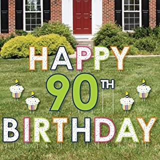 product image for Big Dot of Happiness 90th Birthday - Cheerful Happy Birthday - Yard Sign Outdoor Lawn Decorations - Colorful Ninetieth Birthday Party Yard Signs - Happy 90th Birthday
