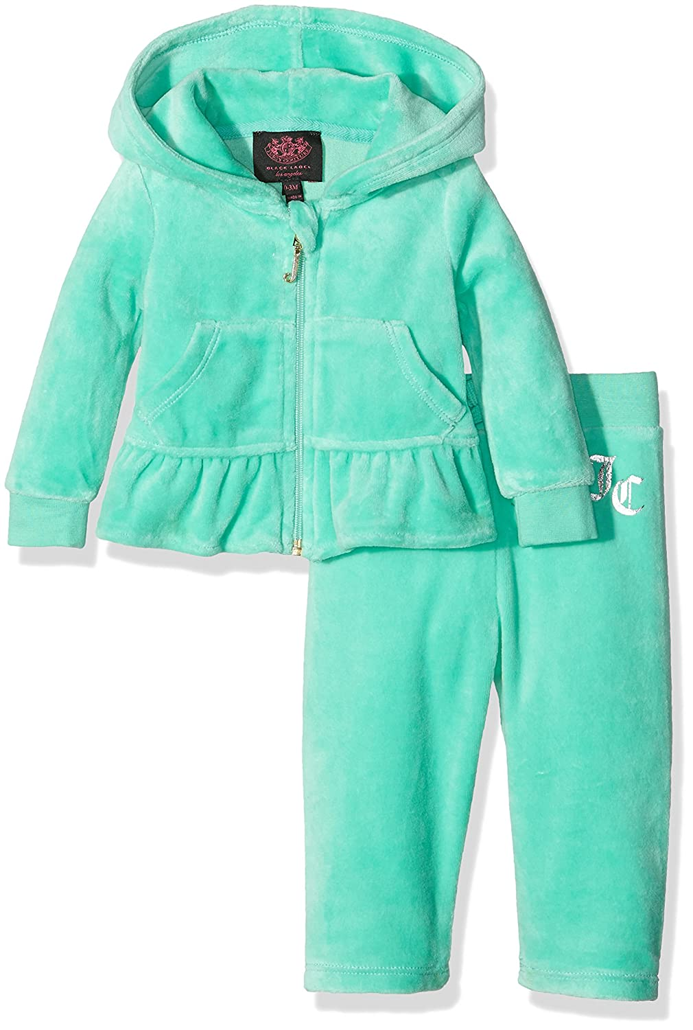 Juicy Couture Baby - Mädchen Jogginganzug Logo Vlr Filagree Crown Ruffle Track Set