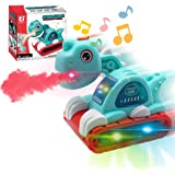 Tociney Dinosaur Toy Car - Dino Cars with Music Flashing Light and Spray Dinosaur Toys for Toddlers Boys Kids 3 4 5 6 7 Years