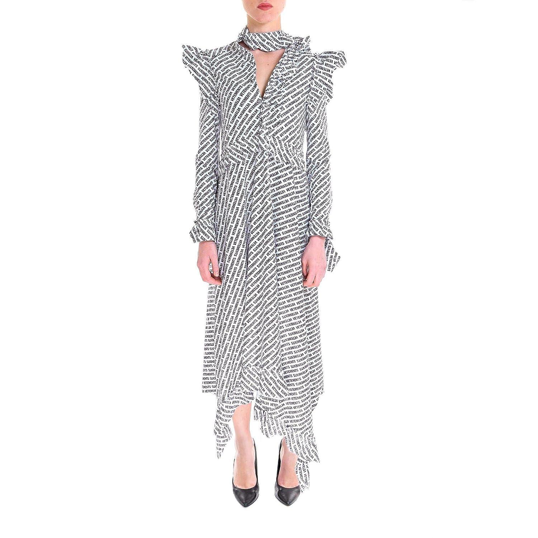 Vetements Women's WSS18DR16BLACK White Black Polyester Dress