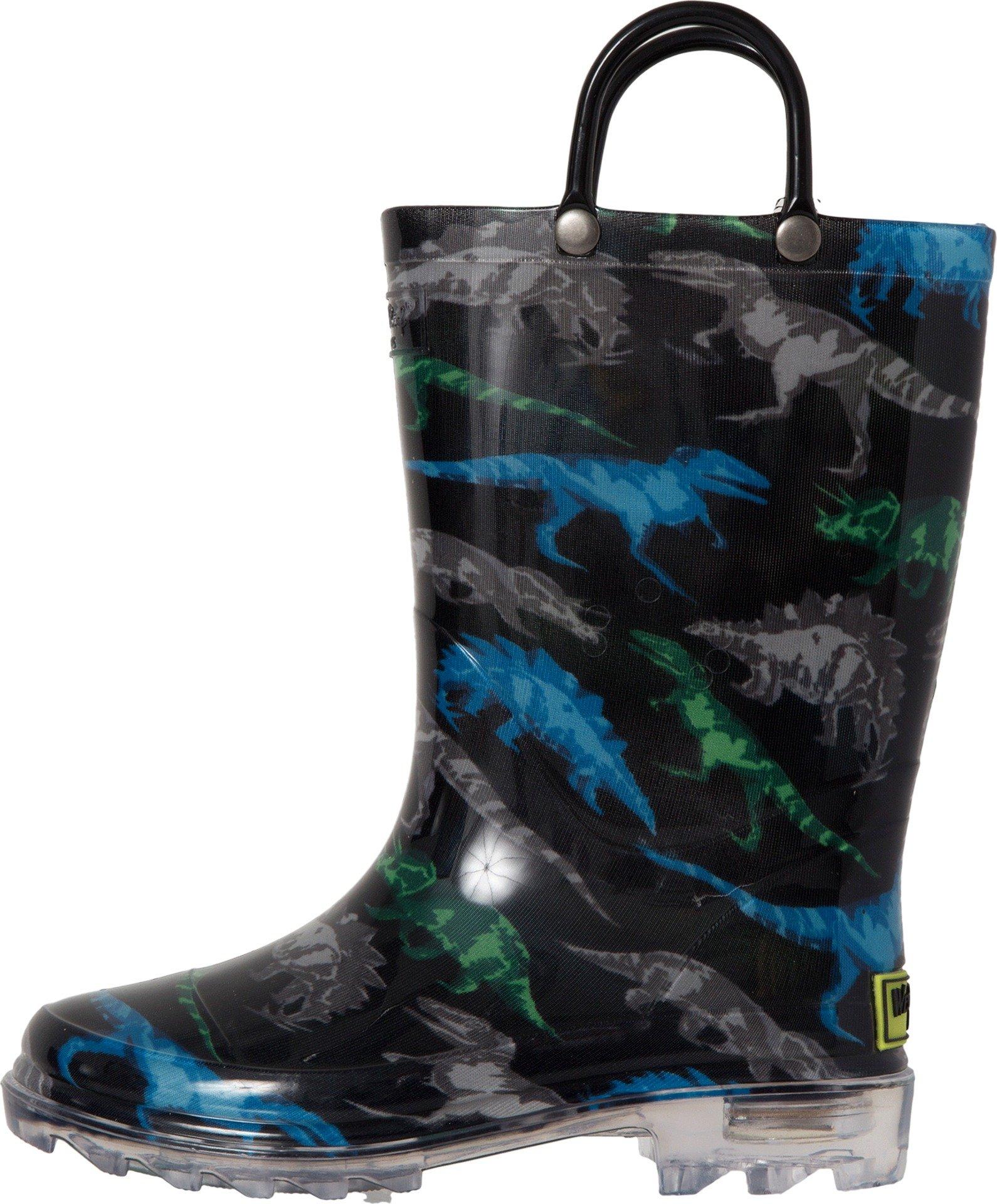 Western Chief Boys' Light-up Waterproof Rain Boot, Dinosaur Friends, 1 M US Little Kid by Western Chief (Image #2)