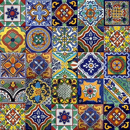 Amazon Com Mycustommade 100 Mexican Tiles Mix Home Kitchen