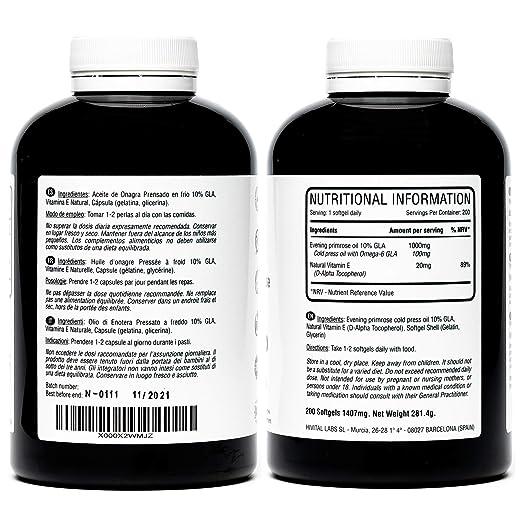 Aceite de Onagra 1000 mg con 10% Omega 6 GLA | 200 perlas de Aceite Natural Prensado en frio (Más de 6 meses de suministro) | Reduce los dolores ...