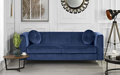 Classic and Traditional Living Room Marilyn Velvet Sofa with Tufted Accent  Pillows (Blue)