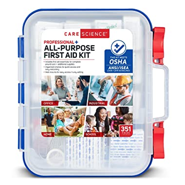 Care Science First Aid Kit Professional + All Purpose, 351 Pieces | Meets OSHA ANSI 2015 Guidelines with Wall Mount. Professional Use for Work, School, Home, Car, Survival, Camping, Hiking, and More