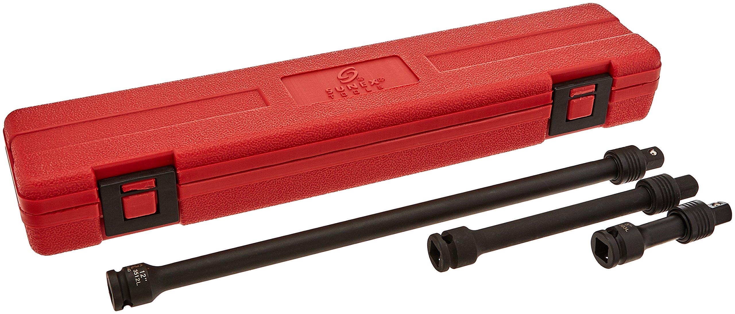 Sunex 3501 3/8-Inch Drive Locking Impact Extension Set, 3-Piece