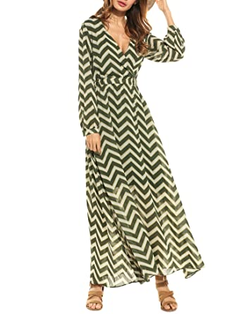 9e836a95fb9 Zeagoo Women Deep V-Neck Long Sleeve Elegant Striped Chiffon Cocktail Long  Maxi Dress