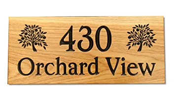 Bramble Signs 500 X 220mm Extra Large Wooden House Sign Plaque Door Number Street Sign With Large Name And Large Scroll From For Quality Assurance