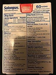 Salonpas pain relieving patches 60 count for Salonpas lidocaine 4