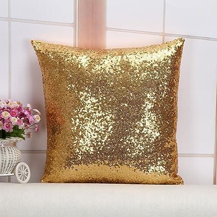Finest Amazon.com: Toss Pillow Best Choice 24''X24'' Light Gold Sequins  KC65