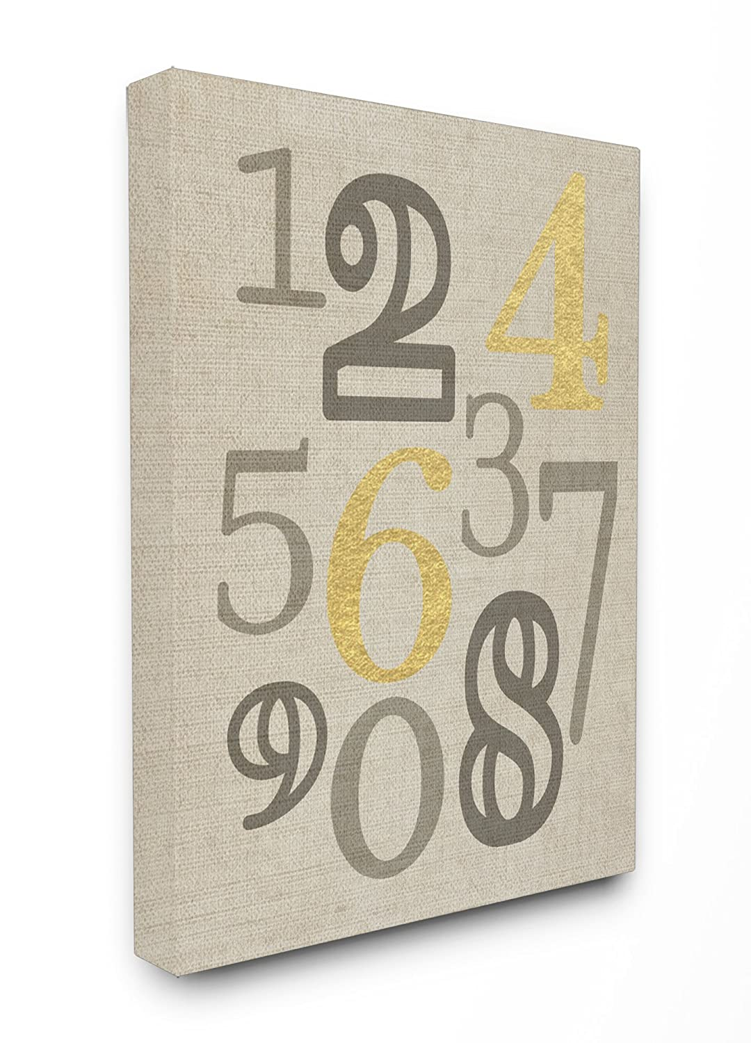 Proudly Made in USA Stupell Home D/écor Numbers Neutrals with Gold Typography Stretched Canvas Wall Art 16 x 1.5 x 20