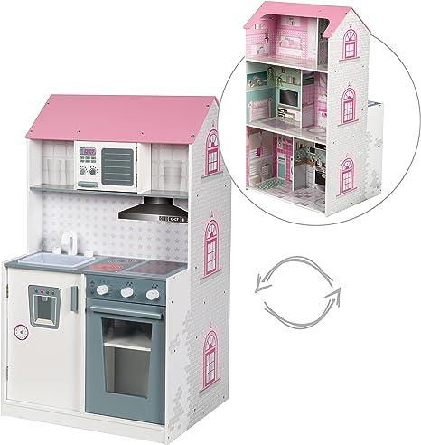 Casa muñecas roba 2en1, casa de muñecas reversible y cocina para ...