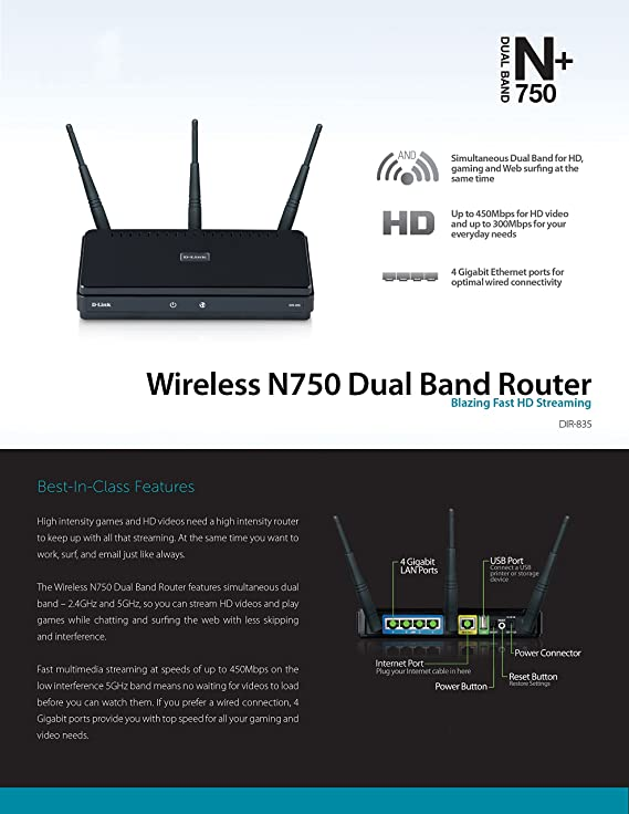 Amazon.com: D-Link Systems DIR-835 Wireless N750 Dual-Band Router ...