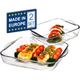 CRYSTALIA Glass Baking Dish for Oven, Casserole Dish, Square Baking Trays for Oven, Borosilicate Glass for Baking, Set of 2 P