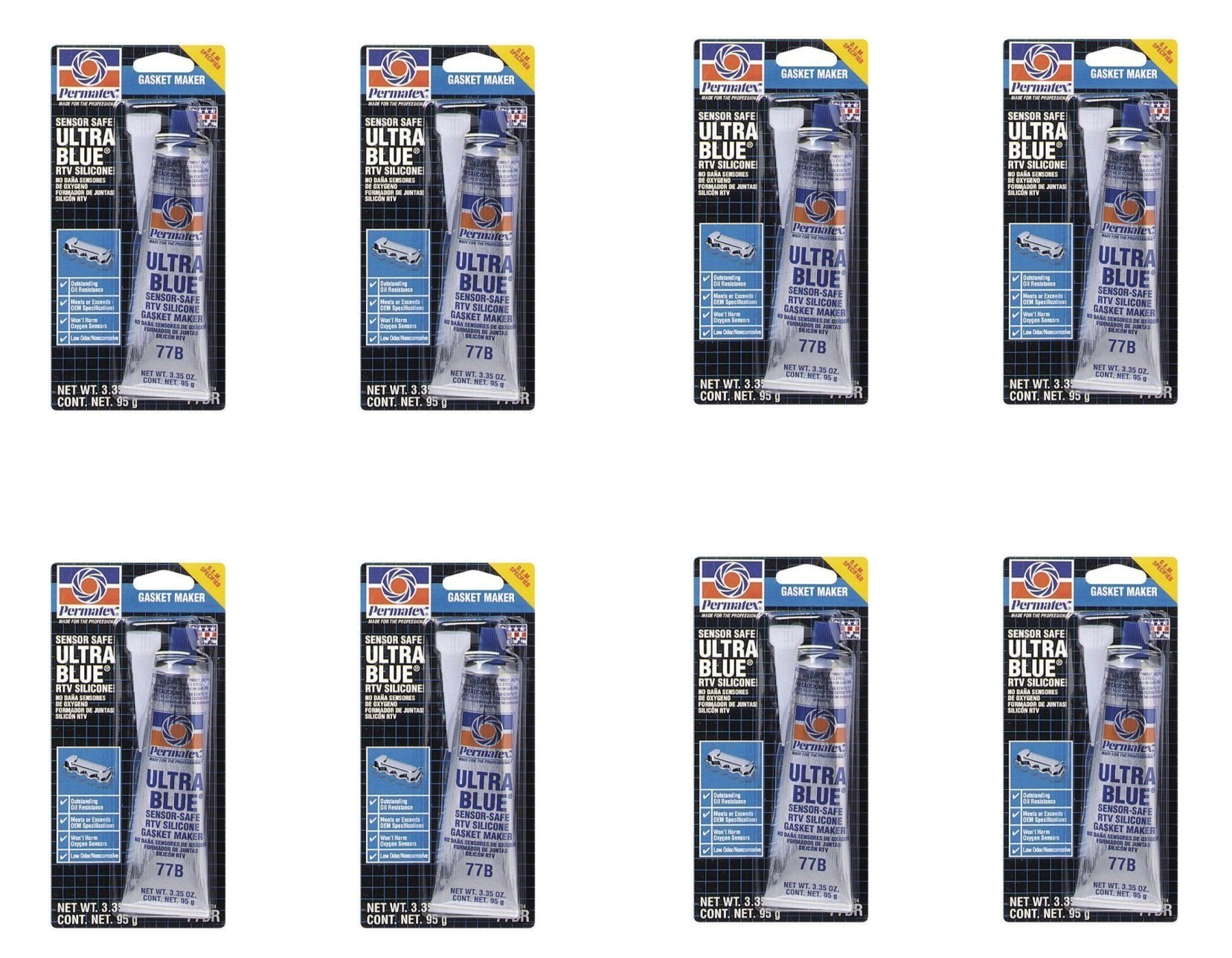 Permatex ® 81724 Ultra Blue Multipurpose RTV Silicone Gasket Maker - 3.35 oz Tube (77B) (8)
