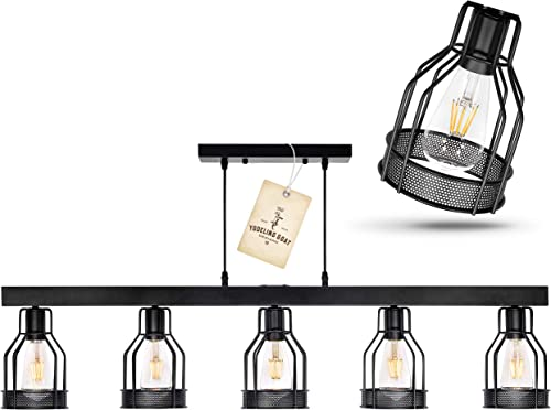 Black Farmhouse Chandelier Pendant Lighting for Kitchen Island, Dining Room Lighting Fixtures Hanging, Pool Table Light, Matte Black Iron Industrial Ceiling Light Fixture