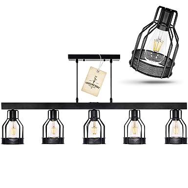 Black Farmhouse Chandelier Pendant Lighting for Kitchen Island, Dining Room Lighting Fixtures Hanging, Pool Table Light, Matte Black Iron Industrial Ceiling Light Fixture