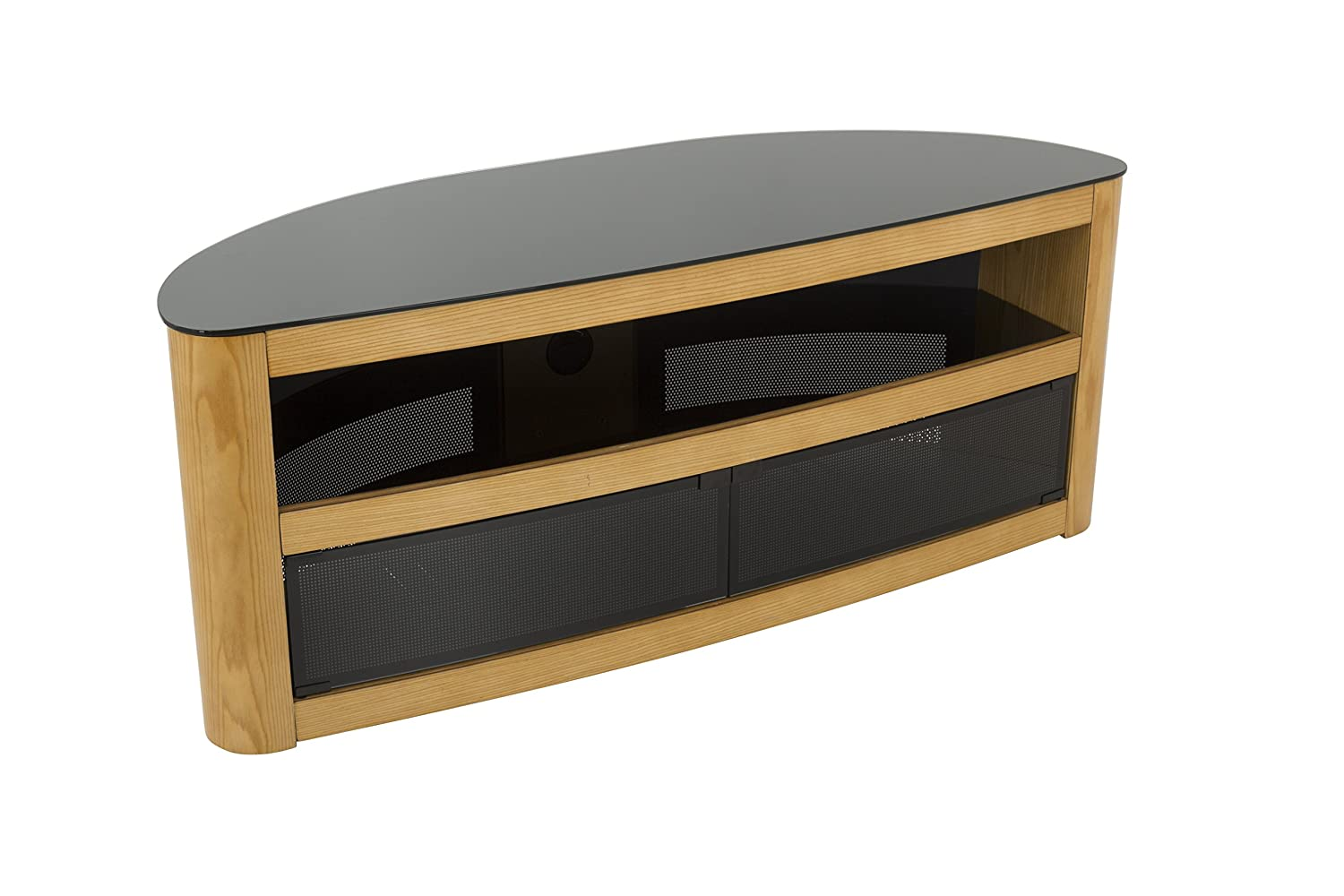 AVF Affinity Plus – Burghley Plus 1250 Curved TV Stand Oak Black Glass