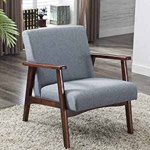 Artechworks Retro Modern Fabric Arm Upholstered Wooden Lounge Chair for Bedroom Living Room Apartment Grey